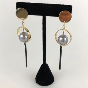 Mary & Heart Jewelry - Studded Gold and Silver Pearl Drop Earrings